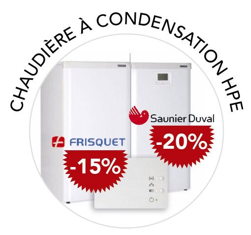 promotion jusqu'à -20% chaudière à condensation HPE frisquet et saunier duval